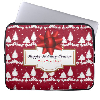 Red Pine Trees Holly and Snow Laptop Sleeve