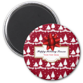 Red Pine Trees Holly and Snow Magnet