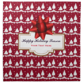 Red Pine Trees Holly and Snow Napkin