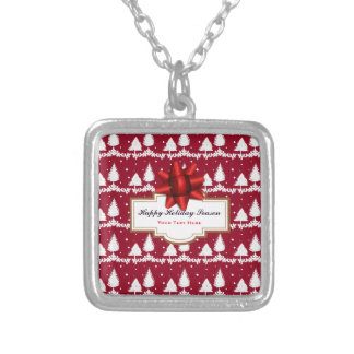 Red Pine Trees Holly and Snow Silver Plated Necklace