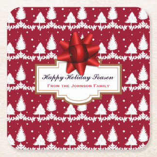 Red Pine Trees Holly and Snow Square Paper Coaster