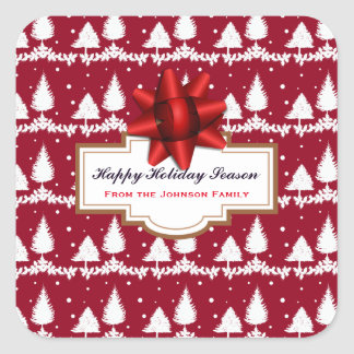 Red Pine Trees Holly and Snow Square Sticker