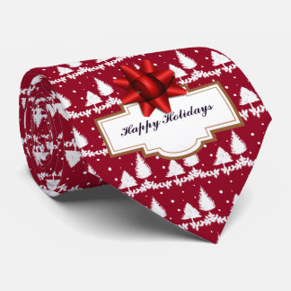 Red Pine Trees Holly and Snow Tie