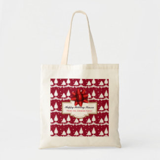 Red Pine Trees Holly and Snow Tote Bag