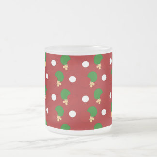 Red ping pong pattern frosted glass mug