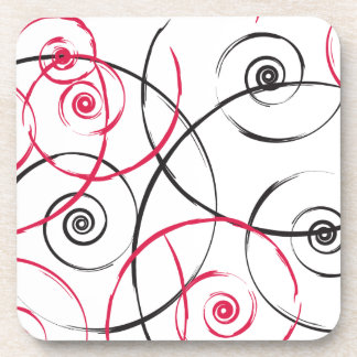 Red Pink and Black Swirl Spirals Coasters