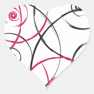 Red Pink and Black Swirl Spirals Heart Sticker