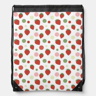 Red Pink and Green Strawberries & Polka Dots Drawstring Bag
