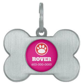 Red, Pink, and Magenta Paw Print Pet Name Tag