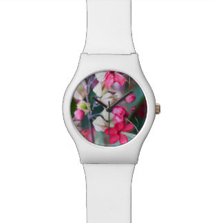 Red Pink and White Tropical Flowers Wrist Watch