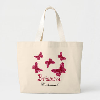 Red Pink Butterfly Personalized Name Bridesmaid Canvas Bags