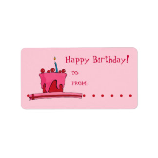 Red & Pink Cake Gift Tag Label Address Label