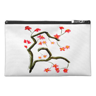 Red Pink Cherry Blossom accent Travel Accessory Bag