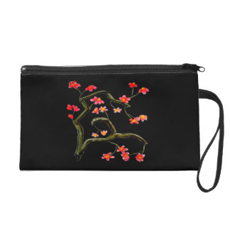 Red Pink Cherry Blossom accent Wristlet