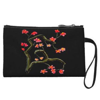 Red Pink Cherry Blossoms accent Wristlet
