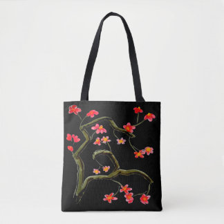 Red Pink Cherry Flower Blossoms accent Black Tote Bag
