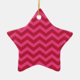 Red & Pink Chevron Stripe Ceramic Star Decoration