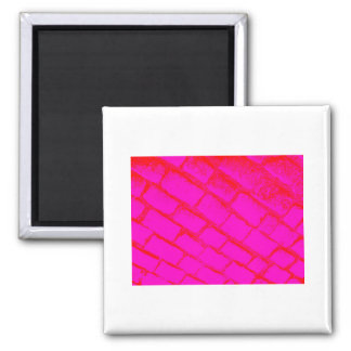 Red Pink Cobbles Square Magnet
