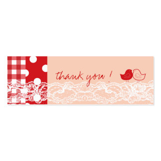 Red Pink Cute Birds Lace Thank You Gift Tag Business Card Template