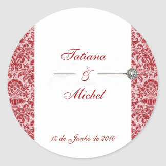 Red & Pink Damask Classic Round Sticker