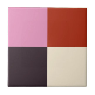 Red Pink Eggplant Ivory Tile