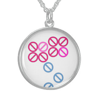 Red Pink Flower Pattern Round Necklace