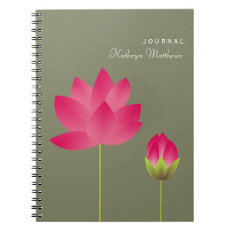 Red pink lotus budding flower blossom journal notebooks