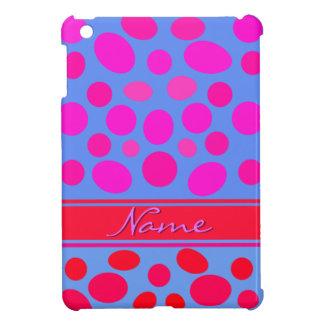 RED PINK POLKADOTS, BLUE BACKGROUND CUSTOMIZABLE iPad MINI CASES