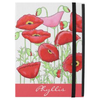 Red Pink Poppies Art Custom Name Monogram