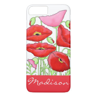 Red Pink Poppies Art Custom Name Personalized iPhone 7 Plus Case