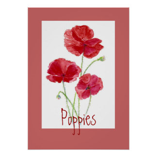 Red & Pink Poppies, Garden, Flowers, Floral Poster