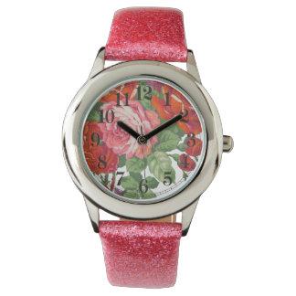 Red pink purple roses flowers vintage  pattern watch
