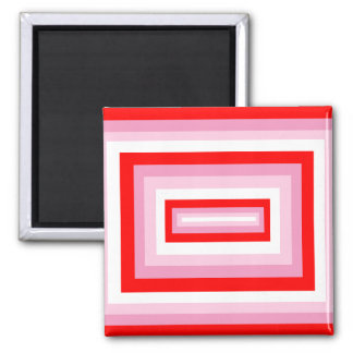 Red/Pink Squares Square Magnet