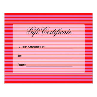 red pink striped Gift Certificate 11.5 Cm X 14 Cm Flyer