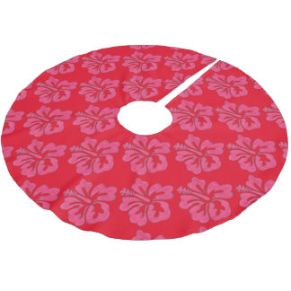 Red Pink Tropical Hibiscus Flower Print Tree Skirt
