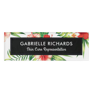 Red & Pink Tropical Hibiscus & Green Leafs Name Tag