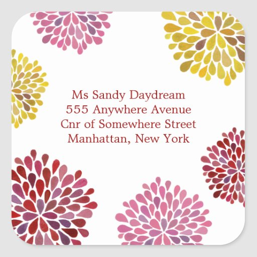 Red Pink & Yellow Bloom Burst Address Sticker