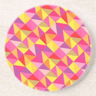 Red Pink Yellow Geometric Pattern drink coasters