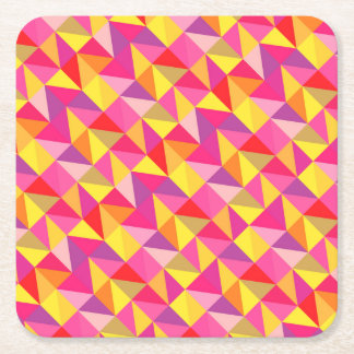 Red Pink Yellow Geometric Pattern Square coasters Square Paper Coaster