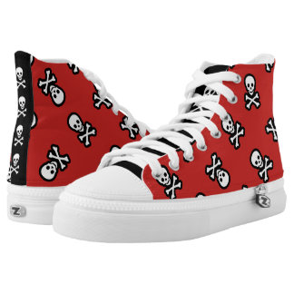 Red Pirate Rockabilly Psychobilly Jolly Roger High Tops