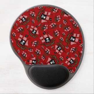 Red pirate ship pattern gel mouse pads