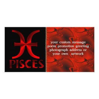 Red Pisces Horoscope Symbol Personalized Photo Card