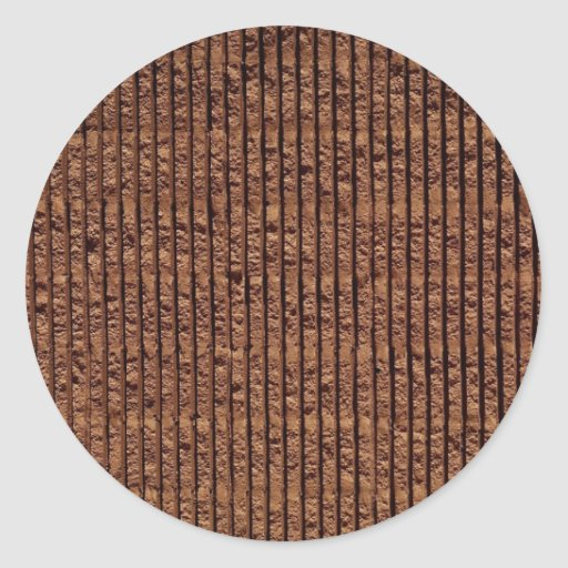 Red pitted brick with horizontal grooves Photo Round Stickers