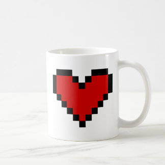 Red pixel heart coffee mug