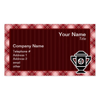 Red Plaid 1st Place Trophy Business Card Templates