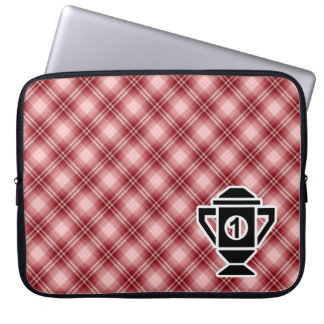 Red Plaid 1st Place Trophy Laptop Sleeve
