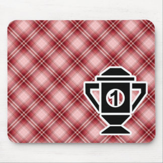 Red Plaid 1st Place Trophy Mouse Pad