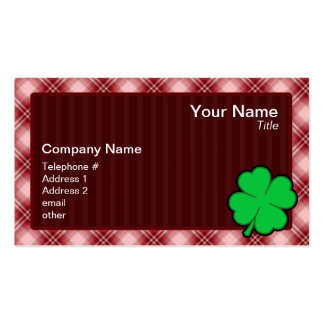 Red Plaid 4 Leaf Clover Business Cards