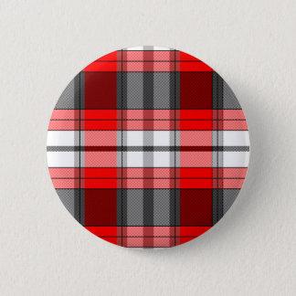 Red Plaid 6 Cm Round Badge