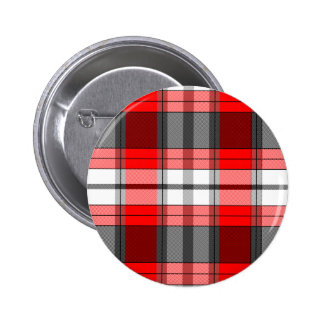 Red Plaid 6 Cm Round Badge